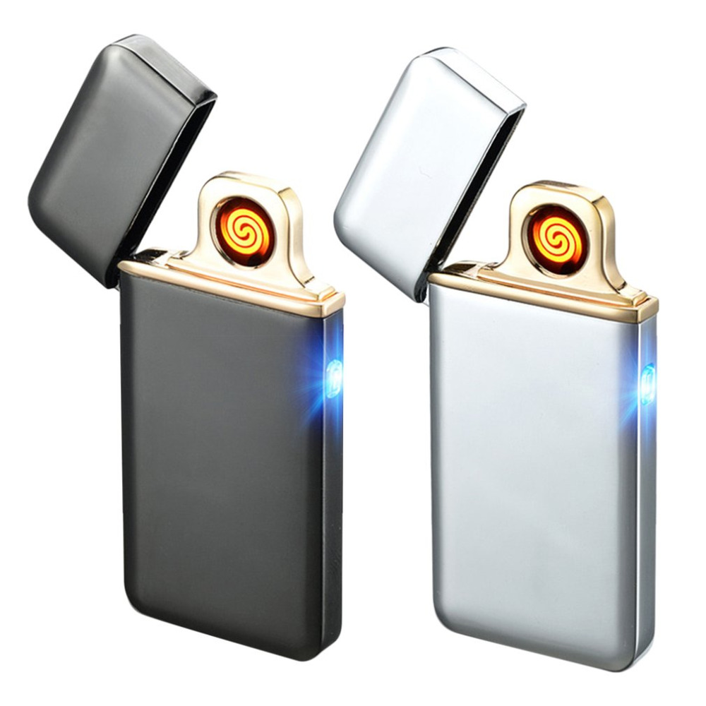 OUTAD Super Thin Touch Sensor Zinc Alloy USB Rechargeable Electronic Lighter Double Sided Flameless Electric Smoking Lighter