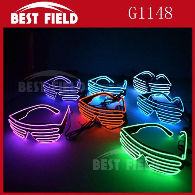 Gratis verzending El Draad zonnebril LED Verlichting flash Shutter ...