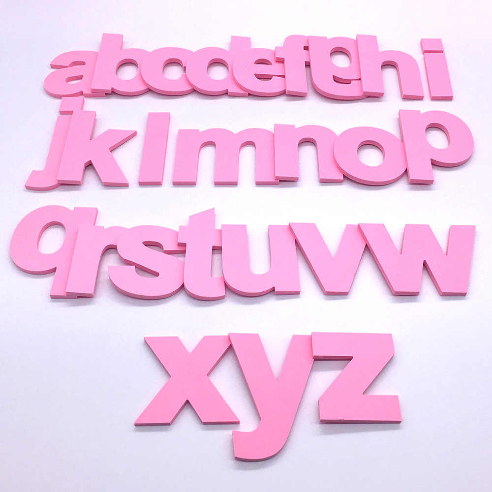 DIY 3D Lowercase English Letters Pink Wall Stickers Living Room Bedroom Background Wall Home Decoration PVC Removable Stickers