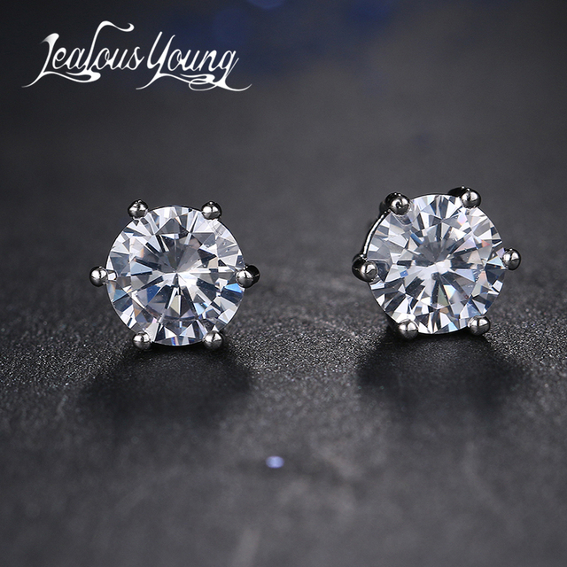 Shining Round Aaa Cubic Zirconia Mens Earrings For Men Clic Small Crystal Women Studs Ear Jewelry