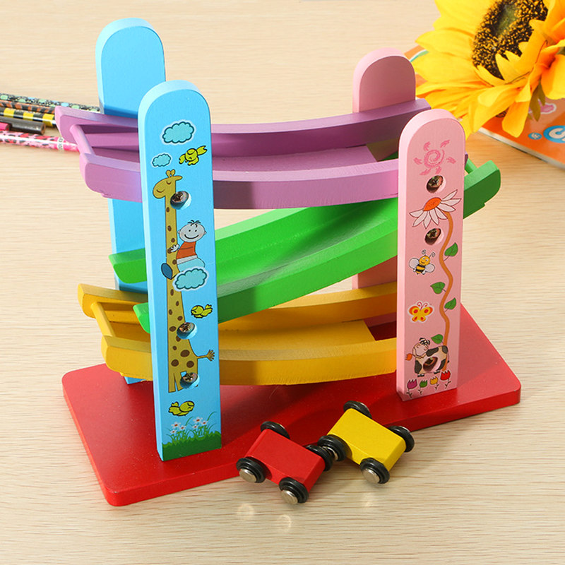 Candywood Baby Kids Wooden Ladder Gliding Car Wooden Slot Track Car Toy Educational Mode ...