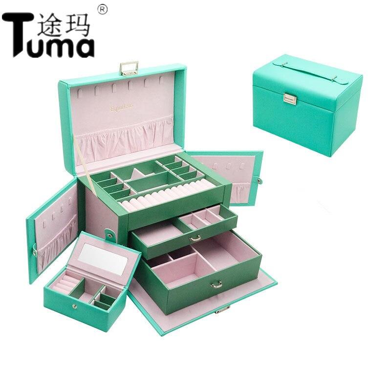 New Jewelry Box Custom European Large capacity Jewelry Box Multi face Open Jewelry Storage Box PU