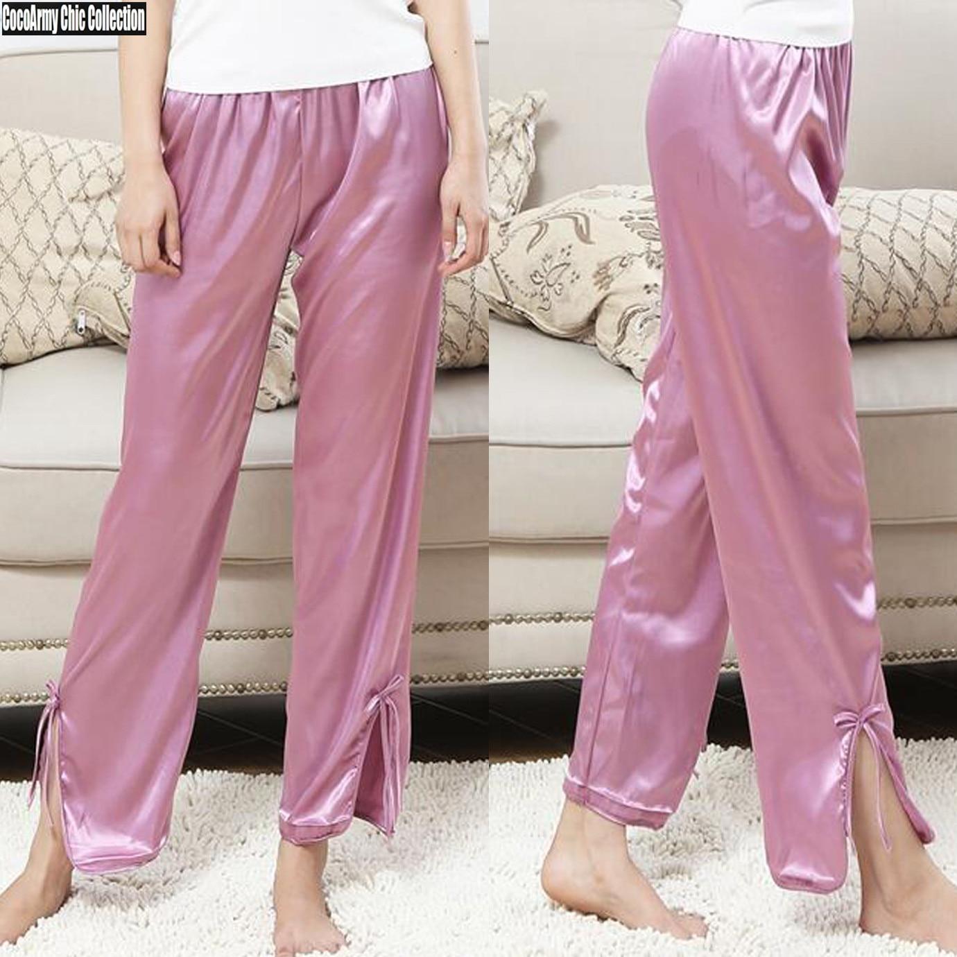 Fashion Soft Satin Silk Pajama Pants with Bottom Slit Bow Design ... 45f48d5d7