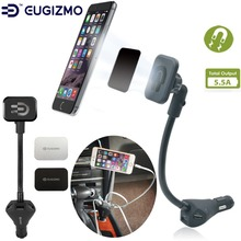 EUGIZMO Universal Car Charger Magnetic Mobile Phone Holder with 3-port USB Charging Port for iPhone Samsung Huawei ect.
