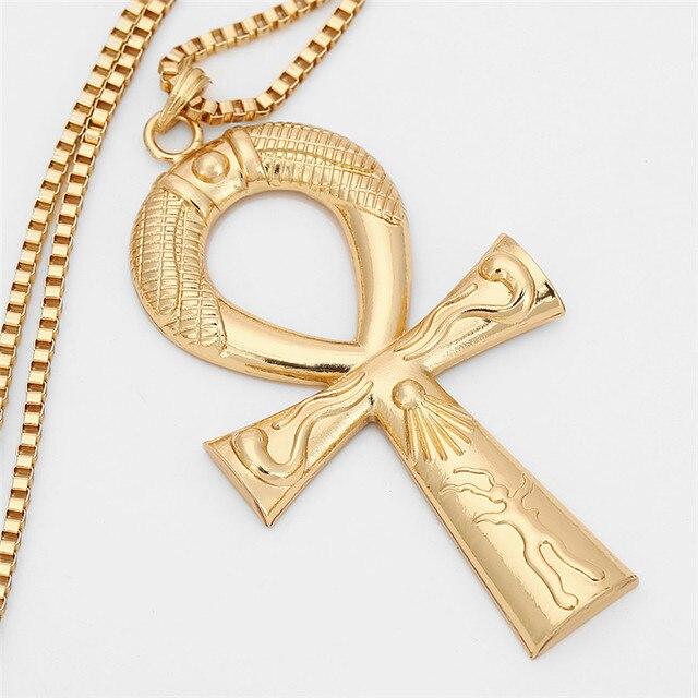 Купить египетский анкх ожерелье с крестом ювелирные изделия золотистого картинки