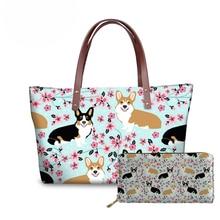 NOISYDESIGNS Women Purse and Handbag Cute Corgi Pet Dogs Printing Bag Fashion Top-handle Bags Large Casual Shoulder