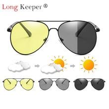Long Keeper Sunglasses Oval Women Men Night Vision Polarized Photochromic Anti