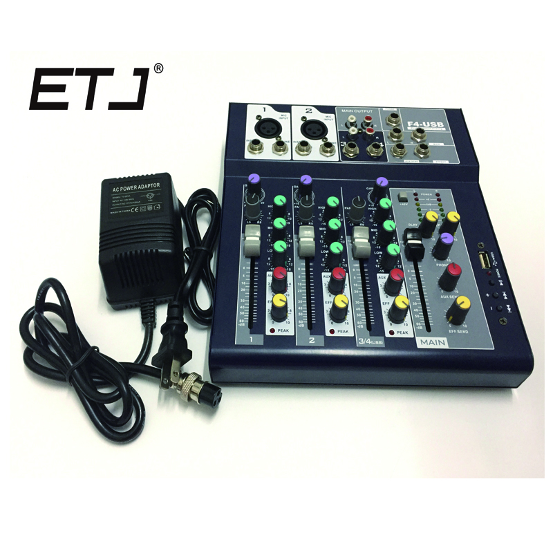 Free Shipping ETJ F4 DJ Mixer 4channels (2 Mono+2 stereo) sound console Equipment with LED Display professional Audio DJ Mixer audio mixer cms1600 3 cms compact mixing system professional live mixer with concert sound performance digital 24 48 bit effects