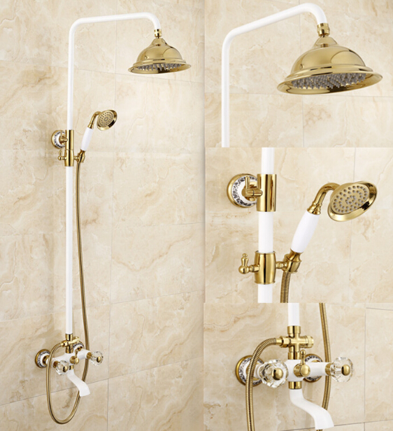 Luxury High Quality Gold U0026 White Bathroom Rainfall Shower Set, Shower  Faucet Euro Style Bath U0026 Shower Faucet Set, Wall Mounted In Shower Faucets  From Home ...
