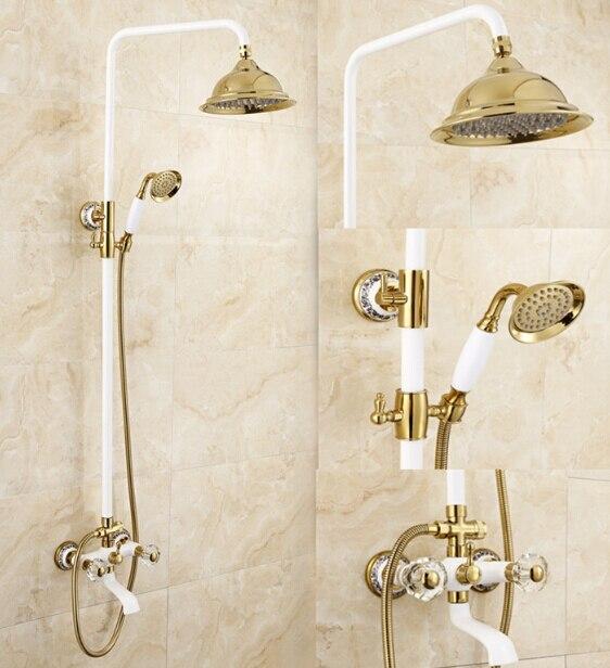 luxury high quality gold u0026 white bathroom rainfall shower set shower faucet eurostyle