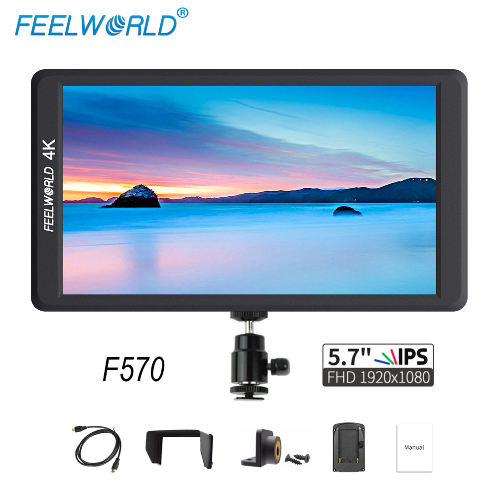 Feelworld F570 5.7 inch DSLR On Camera Field Monitor IPS Full HD 1920x1080 4K HDMI Input for Sony Canon Nikon Mirrorless Camera цена
