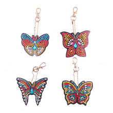 4pcs DIY Diamond Key Chain Special Shaped Diamond Painting Animal Butterfly Keyring Keychains Cross Stitch Women Bag Key Chain