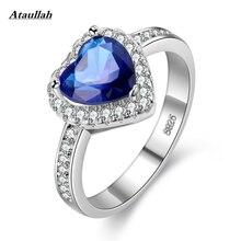 Ataullah New Love Heart Design Fashion Romantic Ring Dark Blue CZ Crystal Rings for Women Costume Jewelry RWD7-035