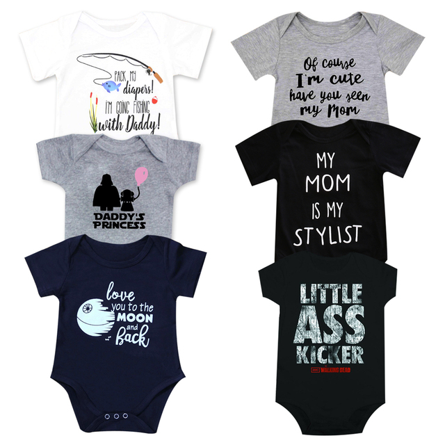Newborn Baby Clothes Toddler Infants Baby Bodysuit Funny auntie uncle white short sleeve Tiny cottons Baby girl boys Baby Onesie