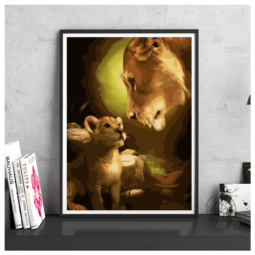 The Guardian of Love Modern Number Canvas Oil Painting DIY Digital Paint Home Decor Cafe Wall Picture Living Room Print Poster