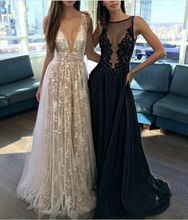 Ever-Pretty Prom Dresses Deep V-neck lace A line champagne Evening dress  TAilored