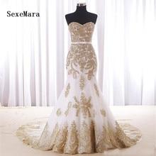 SexeMara Real Photos Mermaid Sweetheart Wedding Dress Gold