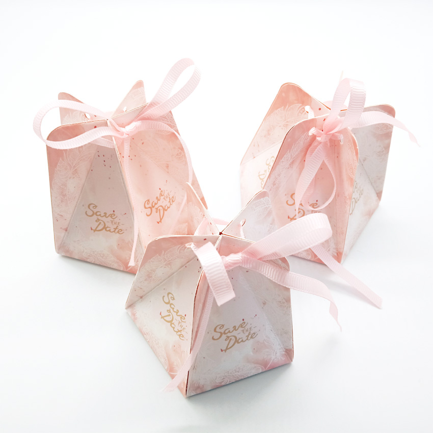 50pcs lot Romantic wedding creative Pentagonal Pink Wedding Candy Box Chocolate Packaging Wedding Favors in Gift Bags Wrapping Supplies from Home Garden