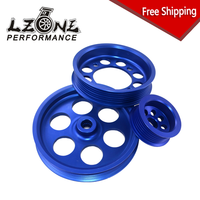 FREE SHIPPING CRANK PULLEY FOR 93 97 TOYOTA SUPRA JZA80 2JZGTEUNDERDRIVE LIGHTWEIGHT CRANK PULLEY(3PCS) BLUE