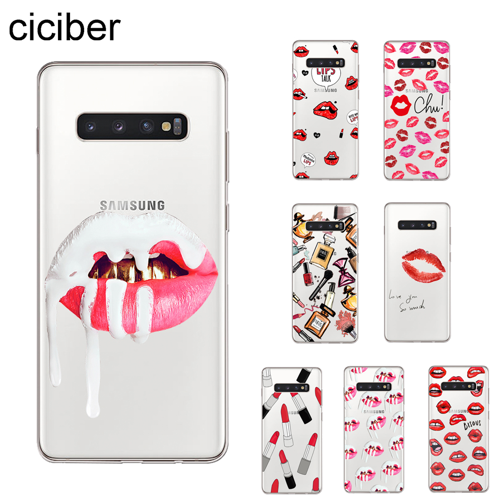 ciciber Lipstick Make Up <font><b>Sexy</b></font> Cover For Samsung Galaxy S9 <font><b>S8</b></font> S7 S6 S5 S10 S10e S10+ Edge Plus Phone <font><b>Cases</b></font> Soft TPU Coque Capinha image