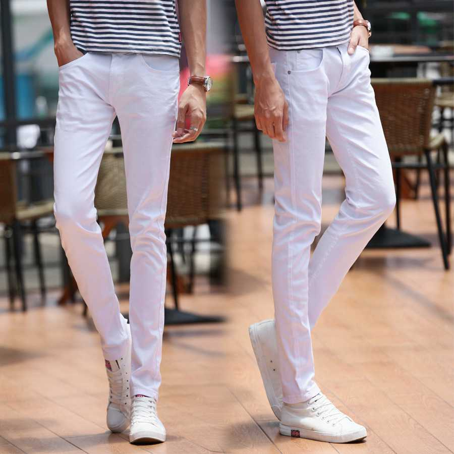 #1921 Spring summer 2016 Thin Black/white jeans men Casual Elastic Bikers Pantalon homme Slim jeans men Skinny jeans masculino