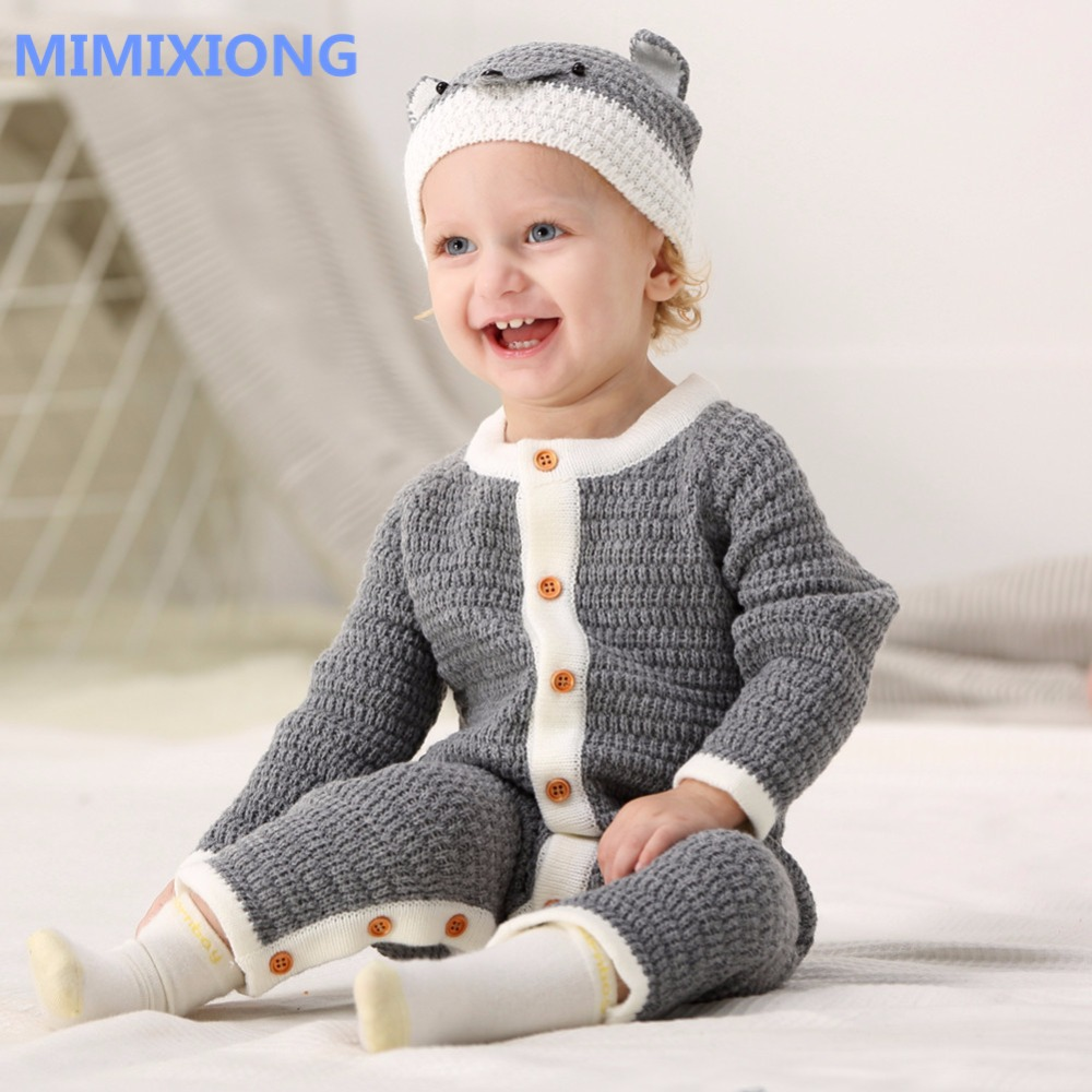 Toddler Baby Girls Rompers Set Grey Cute Jumpsuit + Hat Infant Boys Playsuit Outfits Clothes Autumn Outerwear Children Clothing polka dot baby girls clothes backless flounced kid girls rompers jumpsuit playsuit one pieces outfits 0 18m blue pink purple