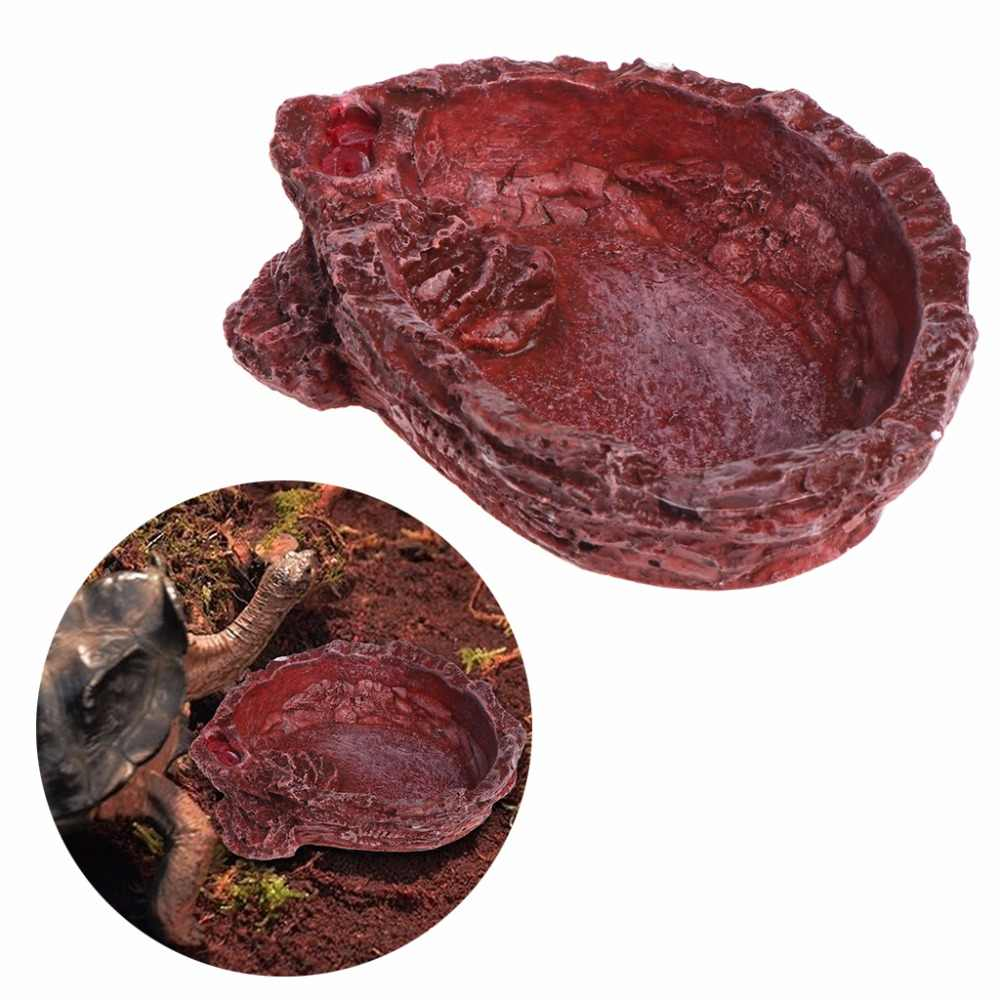 1Pc Reptile Turtle Feeder Food Water Feeding Bowl Resin Aquarium Ornament Scorpion Reptiles Amphibians Supplies C42