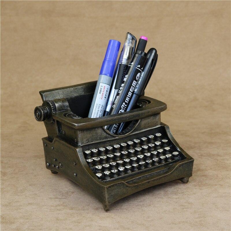 Creative Typewriter Model Pen Holder Decorative Resin Vintage ...