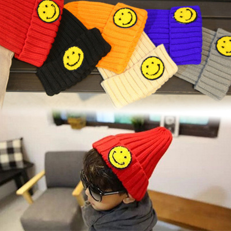 New Arrive Winter Child Cute Smiley Wool Hat Boys And Girls Warm Head Caps Cold Protection Ear Knit Hat Dropshipping