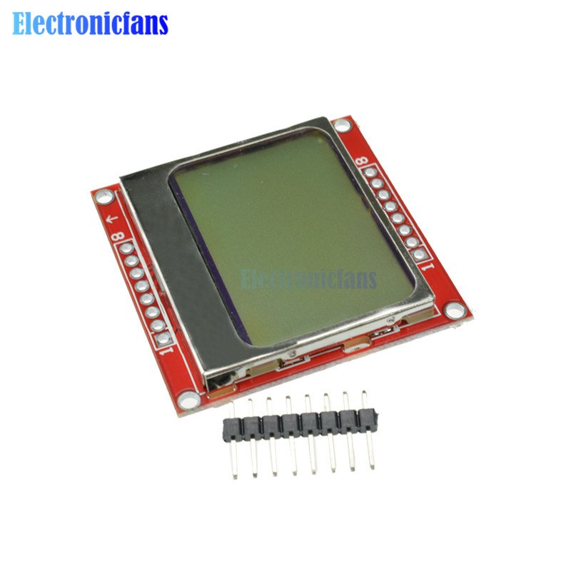 2pcs LCD Module Display Monitor White Backlight Adapter 84*48 84x48 5110 Screen For Arduino Controller 3.3V Dot Matrix Digital