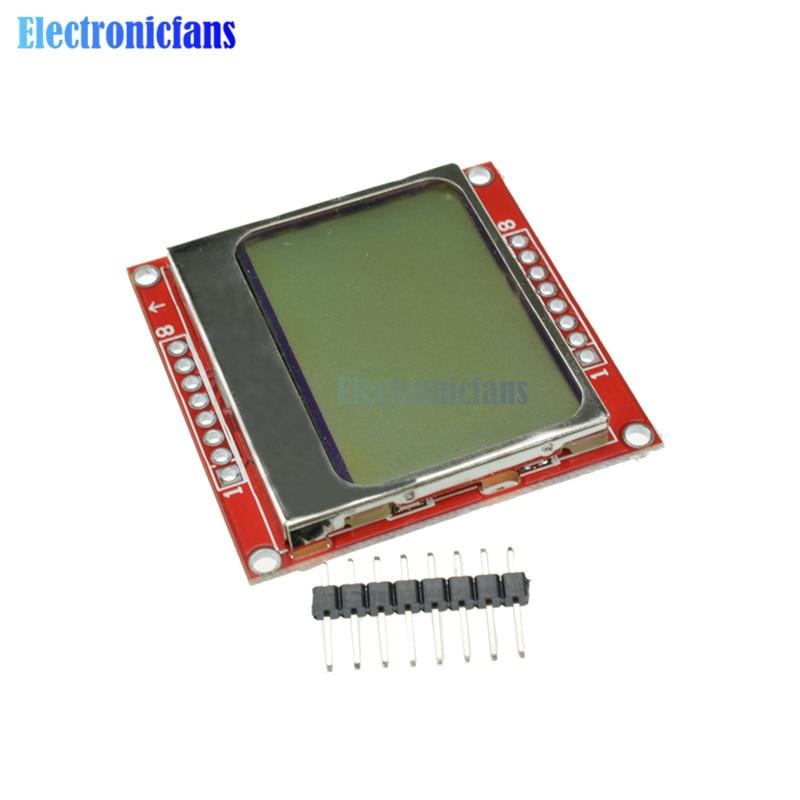 2pcs LCD Module Display Monitor White Backlight Adapter 84*48 84x48 5110 Screen For Arduino Controller 3.3V Dot Matrix Digital