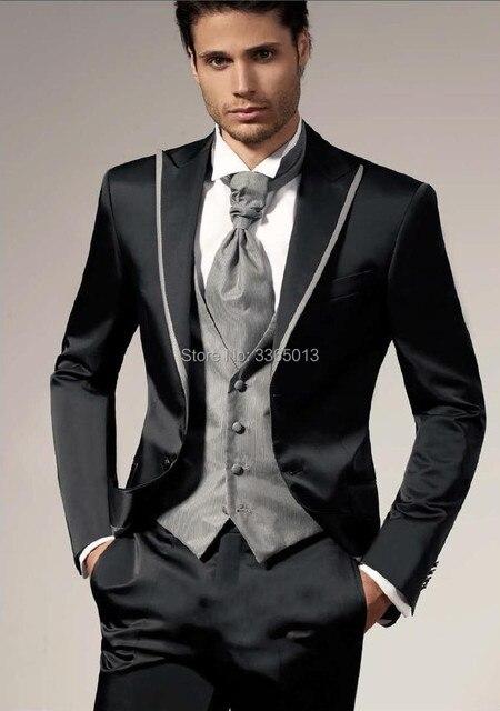 Nueva llegada 2018 negro Trajes con pantalón 3 unidades conjunto formal  elegante esmoquin novio Trajes vestido 5680e760cc25