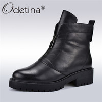 Odetina High Quality Women Ankle Boots Chunky Heels Platform New Fashion Infront Zip Women Boots Thick Plush Shoes Autumn Winter