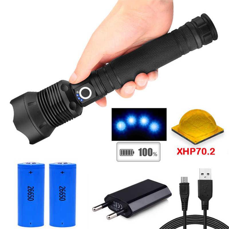 Wysoka latarka elektryczna led taktyczna latarka z regulacją wiązki światła XHP70.2 XHP50 Rechargeable18650 lub 26650 bateria USB ładowanie duża lampa policja