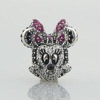 New 925 Sterling Silver parkling Minnie Portrait CZ Charm beads For Women Bead fit Pandora Charm Bracelets