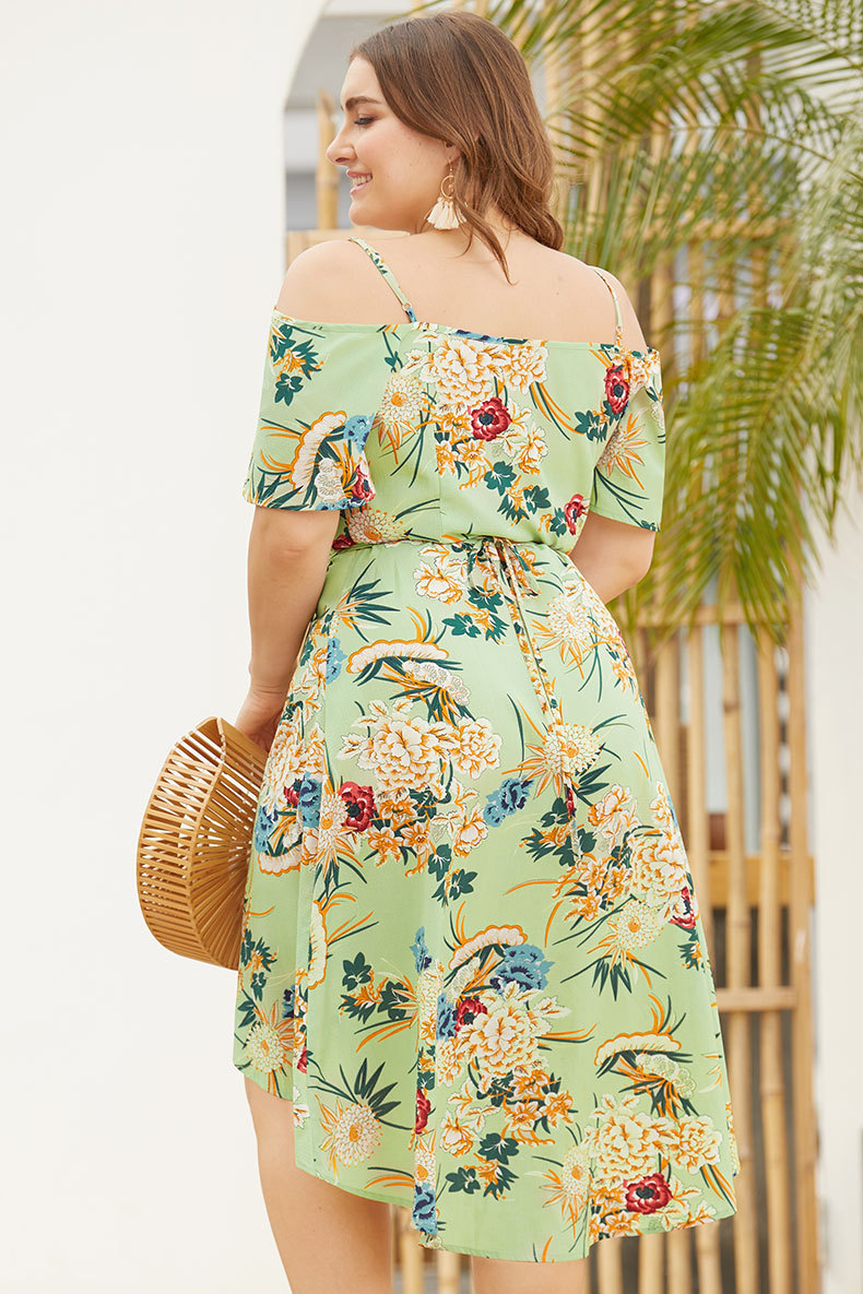 V neck Short sleeve Bandage Women Dress Tunic Swallow tail Band Holiday Printed Dress Prom Plus Size Vestidos Beach Dress in Dresses from Women 39 s Clothing