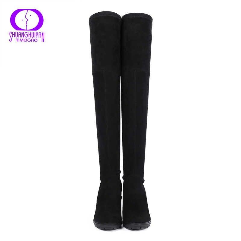 AIMEIGAO Faux Süet Deri Diz Çizmeler Üzerinde Seksi Yüksek Topuklu Uyluk yüksek Kadın Çizmeler Konfor Kare Topuklu Kadın Ayakkabı