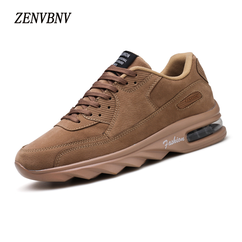 ZENVBNV Fashion Pu Leather Men Casual Shoes Breathable Lace-Up Walking Shoes Autumn Comfortable Air Cushion Walking Men Shoes