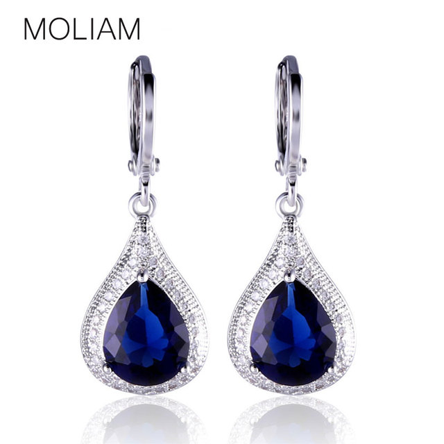 MOLIAM Creative Jewelry Earring for Women Silver Color Drop Earrings Pear Crystal Fabulous Wedding Dangle Earing MLE051