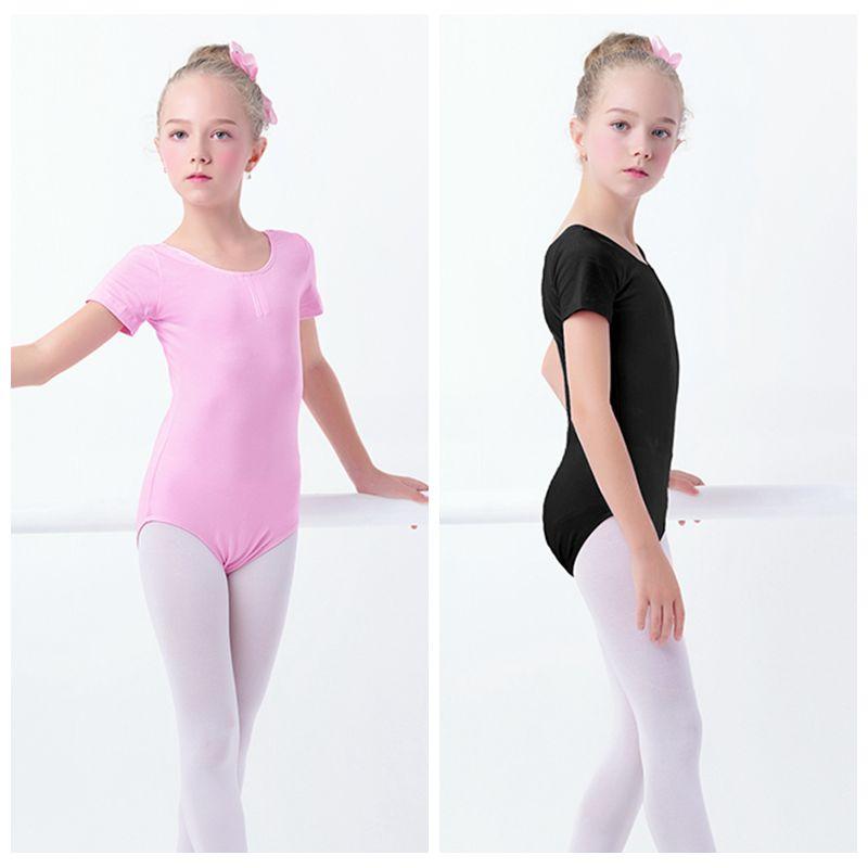 Girls Kids Gymnastics Leotard Cotton Spandex Ballet Leotards Short Sleeve Black Ballet Clothes Dancewear