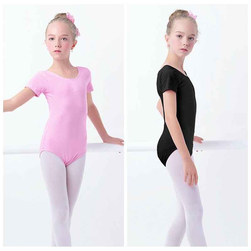 27b1fc46c Black Girls Kids Gymnastics Leotard Cotton Spandex Ballet Leotards Short Sleeve  Ballet Clothes Dancewear
