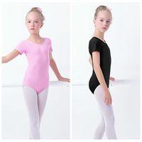 Hot Sale Kids Children Pink Short Sleeve Cotton Ballet Dance Leotard Gymnastics Leotard For Girls