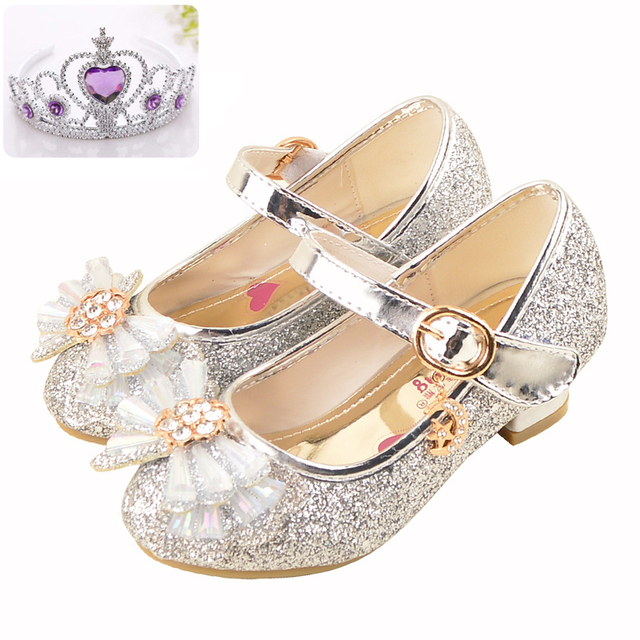 aaf3bd324bee7 Sibahe High Heels Shoes for Girls Princess Party Dance Shoes Children kids  Sequined Glitter Shiny Shoes Snow Queen Bowknot Shoes