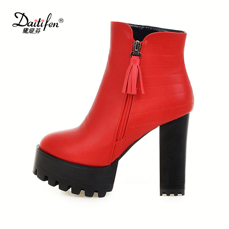 Daitifen 2017 Western Style Zipper Autumn Shoes Women Square High Heel Black Ankle Boots Women Concise Fashion Boots Size 34-43 vinlle women boot square low heel pu leather rivets zipper solid ankle boots western style round lady motorcycle boot size 34 43