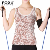 FORUDESIGNS 3D Tank Top Women Summer Sleeveless Tight Shirt Crop Tops Female Sexy Vests Lace Print