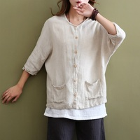 Vintage Women's Shirts With Pockets White Beige Women Blouse Shirt Plus Size Batwing Sleeve Casual Blouse Linen Blusas Tops