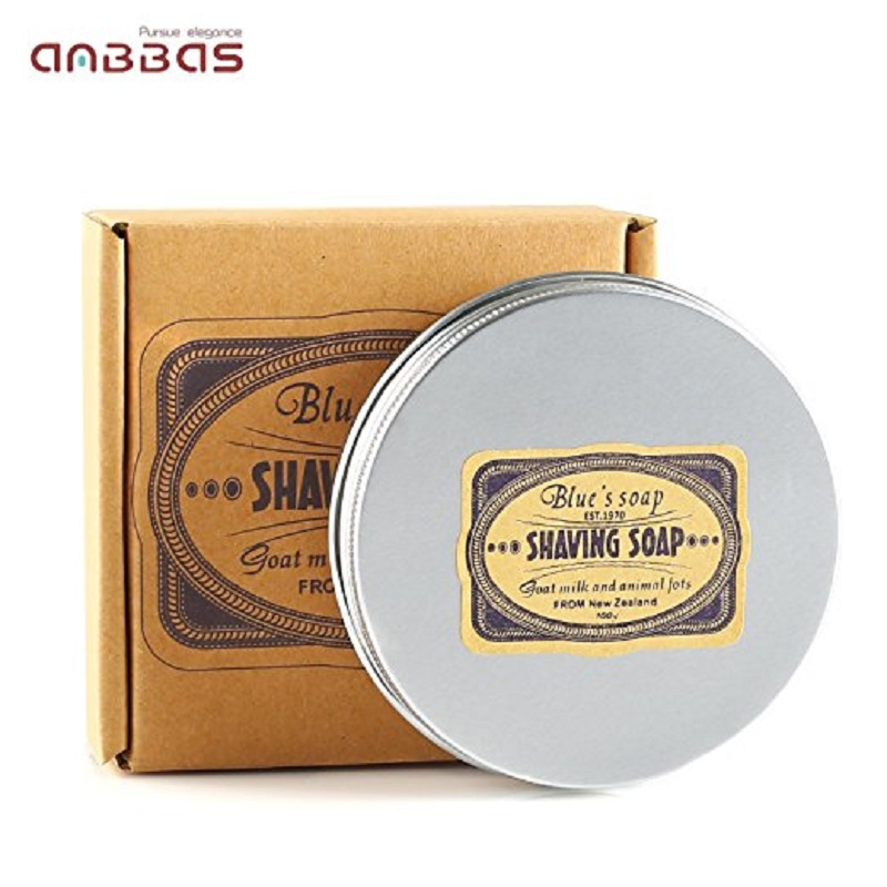Anbbas Shaving Soap In Bowl With Goat Milk,100% Natural Essential Oil & Animal Fat 3.5oz Refill Puck Barber Choice