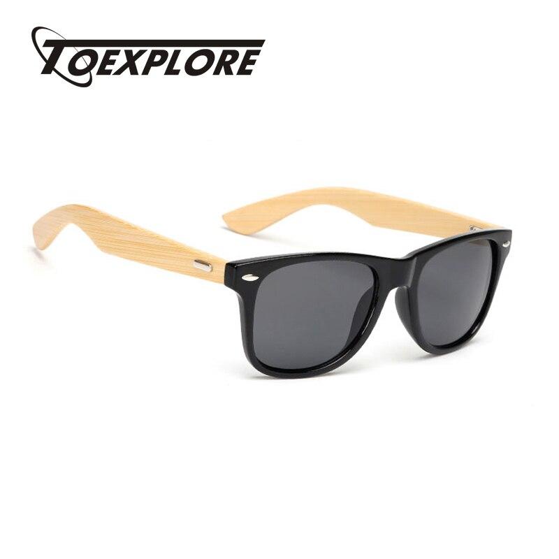 TOEXPLORE Retro Bambus Sonnenbrille Männer Holz Brillen Frauen Marke Designer Brille Sport Brille Gold Spiegel Umwelt UV400