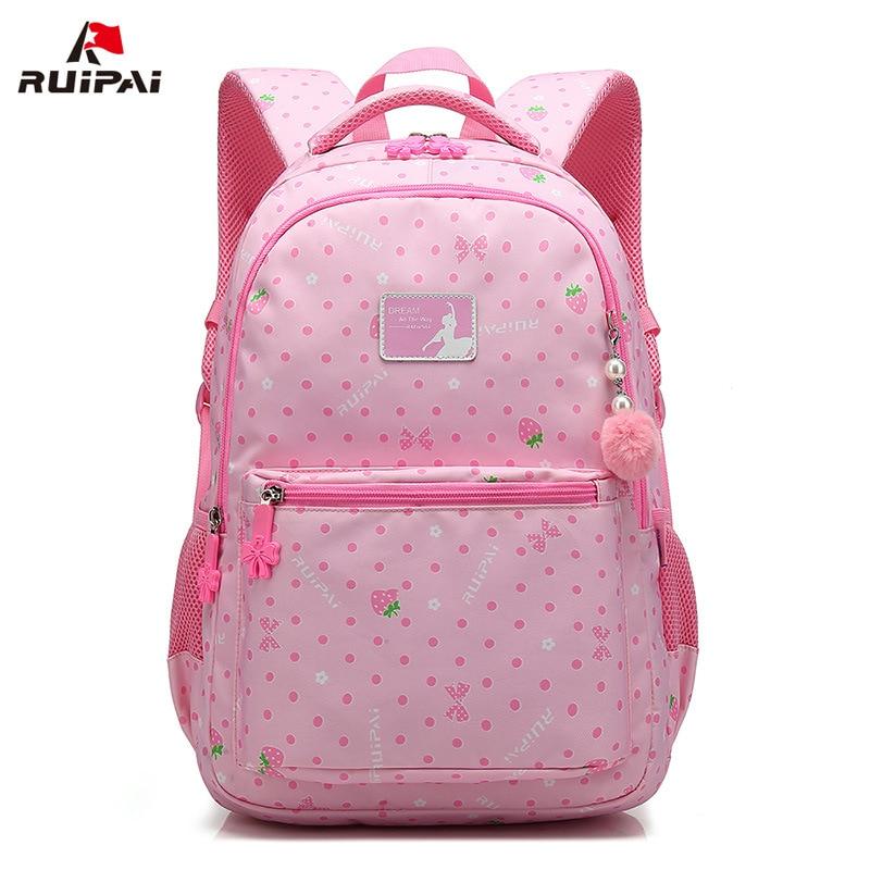 Children's backpack pink sweet print girl's School backpack new breathable student school bags pupil bag waterproof backpack welcome 2 pupil s audio cd school play
