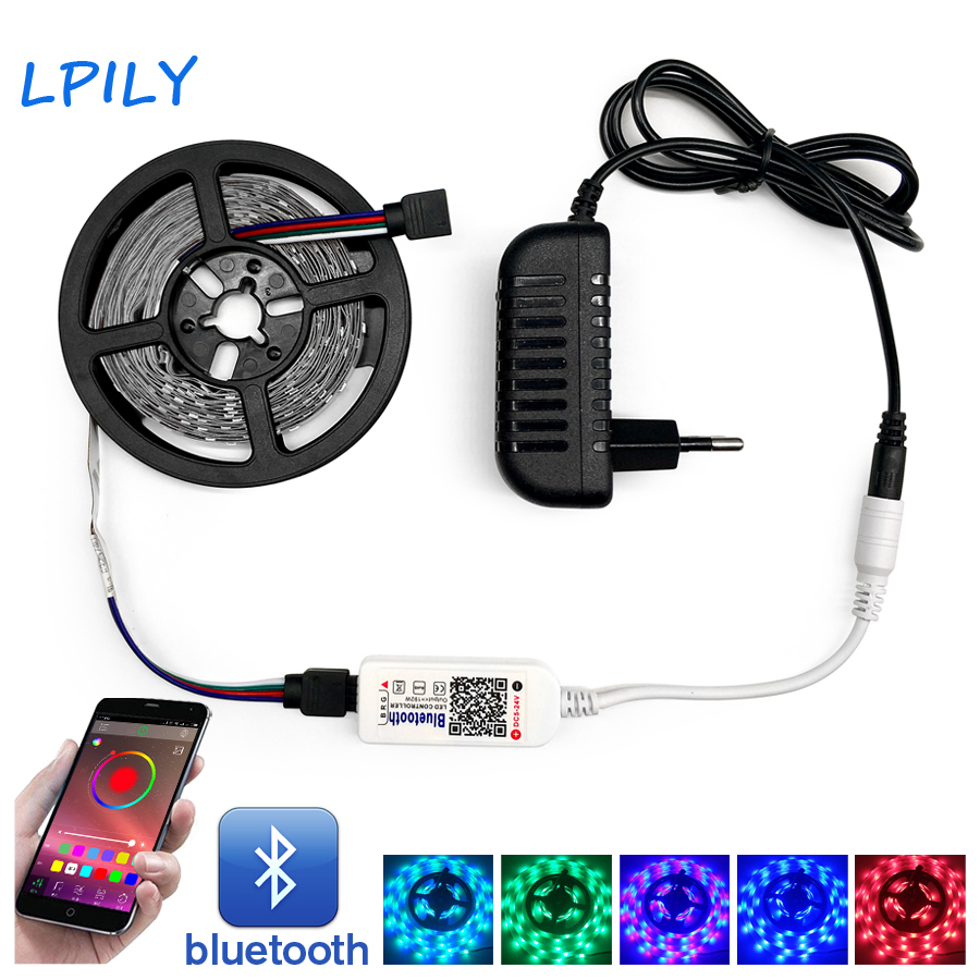 Bluetooth RGB+W and RGB Led Strip Light Waterproof SMD 5050 2835 5M/lot Flexible Led tape ribbon+Bluetooth Control+Adapter set beibehang papel de parede 3d drag wallpaper for walls decor embossed 3d wall paper roll bedroom living room sofa tv background